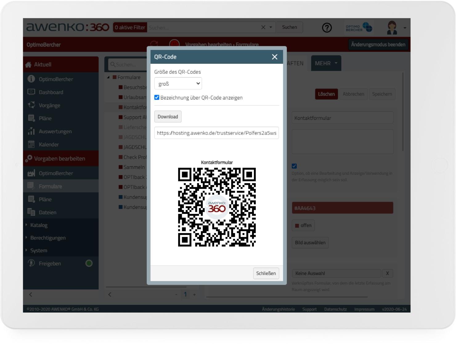 Eindeutige Kennzeichnung von Räumen, Maschinen etc. durch QR-Codes, scannt man den QR-Code weiß AWENKOback, wo man steht und welche Checkliste die richtige ist.